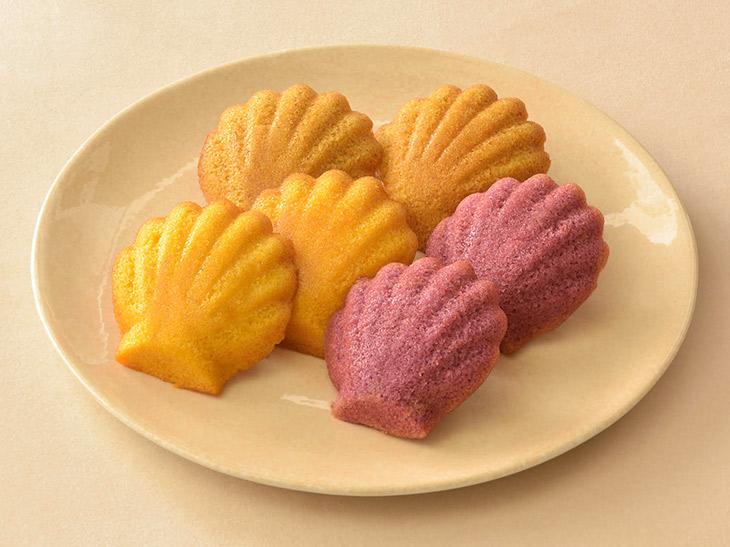 『銀座コージーコーナー』の「秋のマドレーヌ」(紫いも、マロン、かぼちゃ)6個入り540円、12個入り1080円