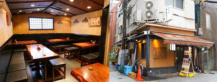 西口商店街にあり、神田駅西口から徒歩3分ほど。1階はカウンター、2階はテーブル席