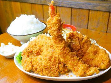 約2kgの揚げ物祭り!『上州屋』(藤沢本町)で「3種ミックスフライ定食」を食べてきた
