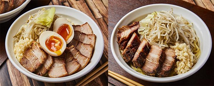 左「味玉男気ラーメン」1530円。右「男気ラーメン」1380円