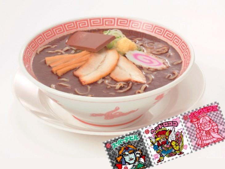 幸楽苑の「チョコレートらーめん」を食べると、限定版「ビックリマン」シールが付いてくる!