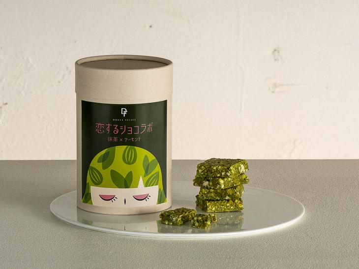 「恋するショコラボ 抹茶×アーモンド 9個入」(900円)。濃厚なのに丸みのある味わい。「ドルチェフェリーチェ」及び「ケユカスイーツ」と、一部KEYUCA雑貨店舗で発売
