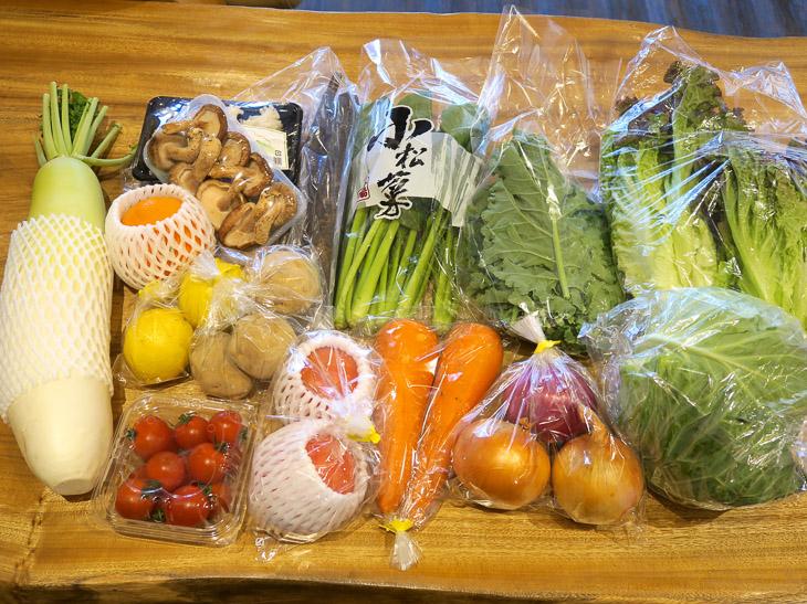 宅配100サイズの箱に青果が入ってチルドで届く。配達周期は7/14/21/28日周期を選択可能。今回のセットには、男爵、玉ねぎ、赤玉葱、サニーレタス、岩城島レモン、紅まどんな、人参、大根、スイートキャベツ、トマト、ごぼう、はなびら茸、肉厚椎茸、サラダケール、ミニトマト、小松菜が入っていた