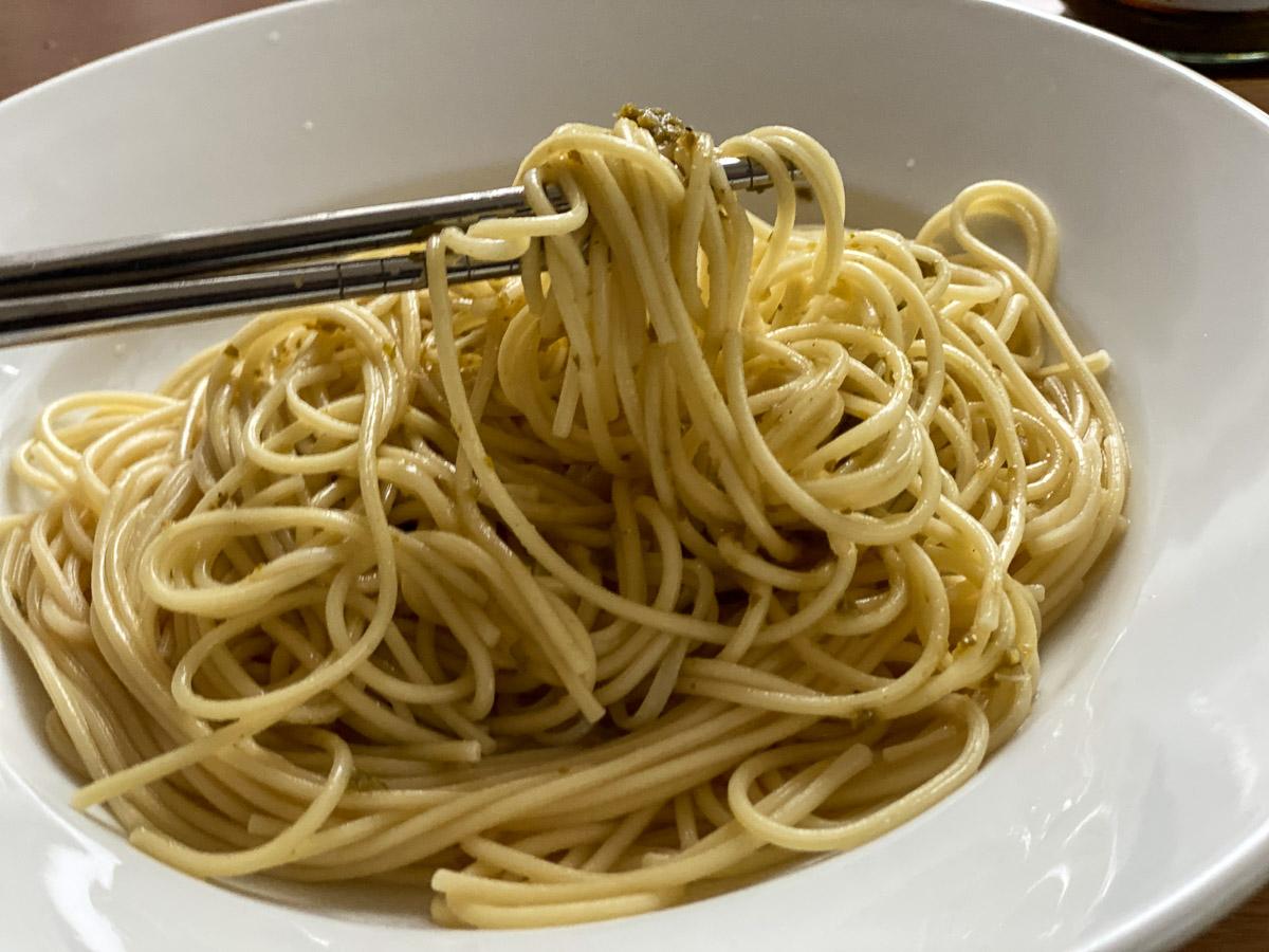 スパゲティを炒めるときに「青麻辣醤」を入れるだけ