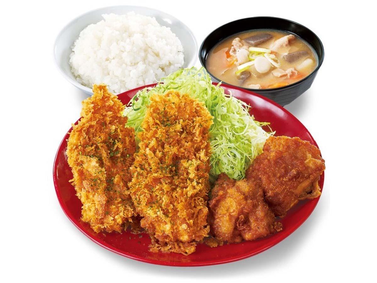 「から揚げとタレカツの合い盛り定食」759円
