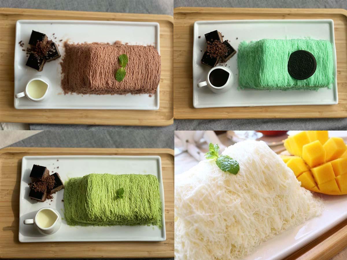 (左上)チョコレート、(右上)ミント、(左下)抹茶 各1320円、(右下)マンゴー1430円