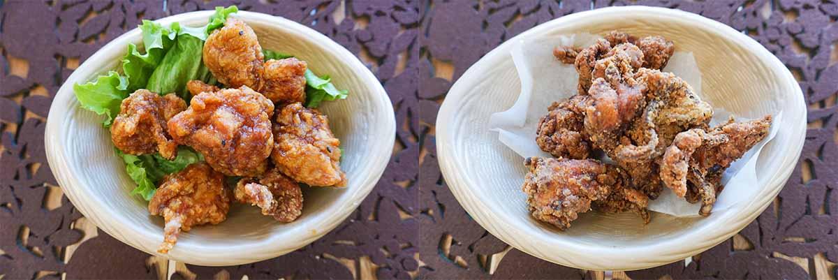 (左)同じく看板メニューの「ヤキトリ風味(から揚げ・骨付き・骨なし)」。下味と衣に甘塩っぱい「焼き鳥風」の味付けが加わり、ご飯が進む逸品。(右)「黒から揚げ」は、こちらのお店にも