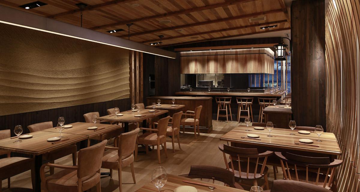 『宮崎風土 くわんね Quwanne』の店内。宮崎県産の飫肥杉(おびすぎ)を使った店内は温かみがあって落ち着けます
