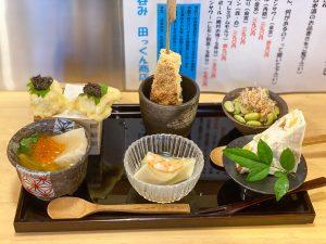 「本日のおまかせ6種盛り」1200円。食感と味のバランスが秀逸で、日本酒がすすみます