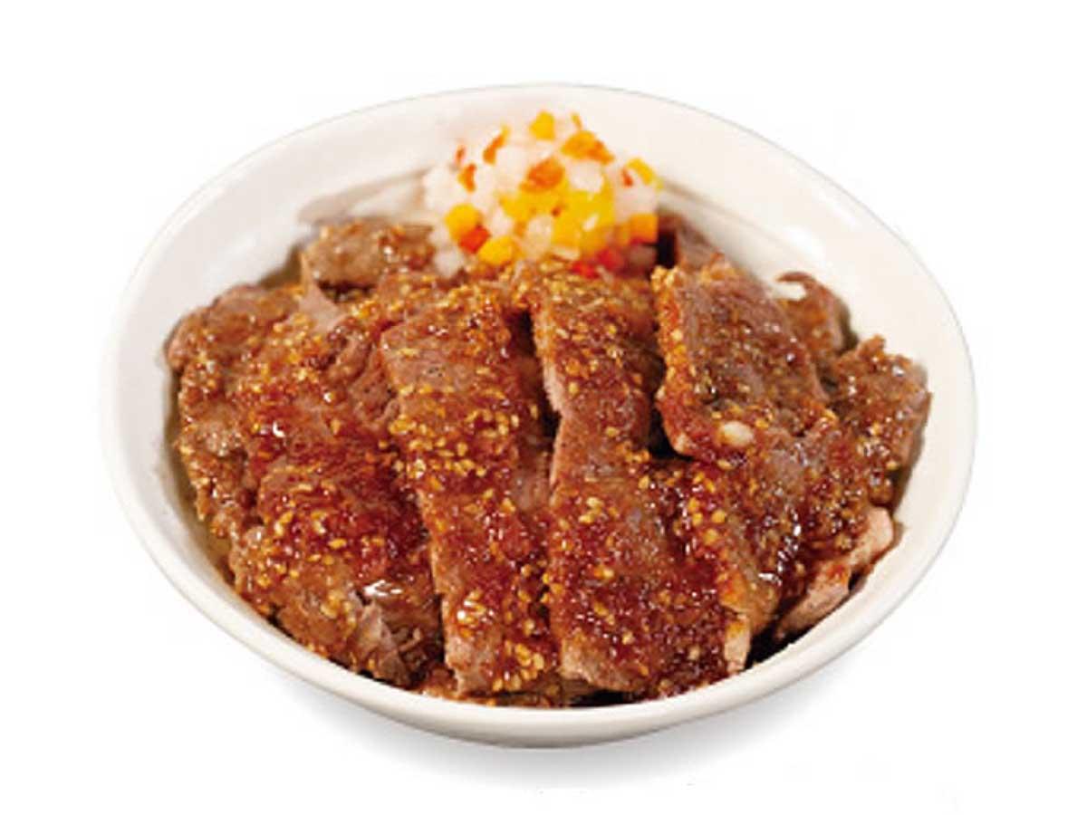 「ビフテキ丼(にんにくごま醤油)」ダブル 1150円