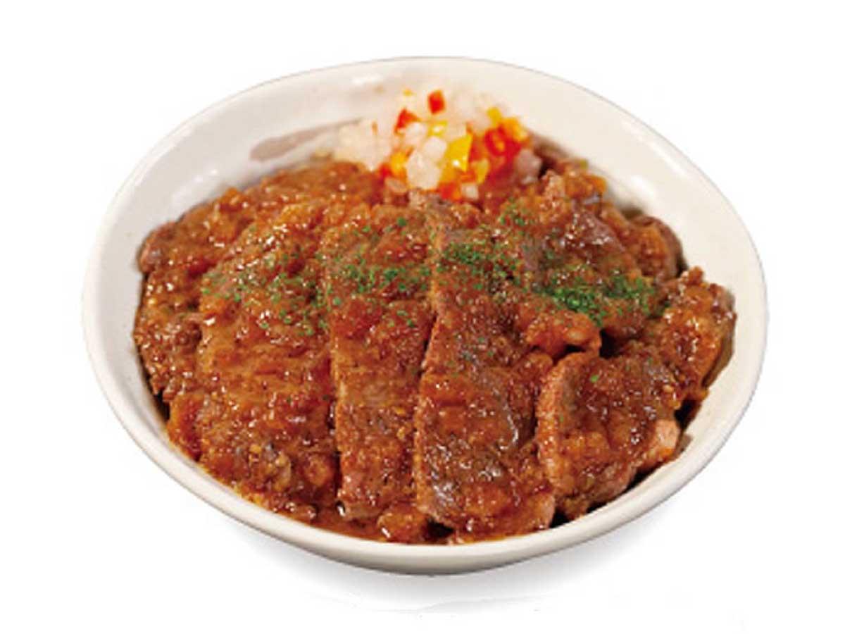 9月14日から登場した「ビフテキ丼(香味ジャポネソース)」750円、ダブル1150円