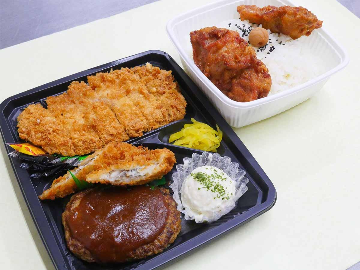 「名物ギガ弁当」1200円。肉・肉・肉・魚、ちょっとイモ、で笑いが出ちゃうほど。男メシらしさ満点!